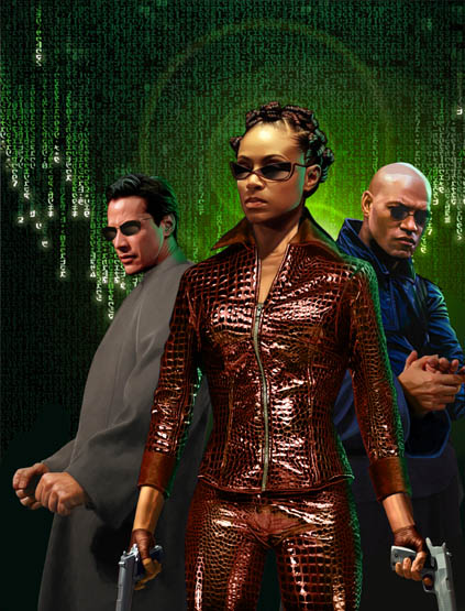 Enter the Matrix Reloaded Jada Pinkett smith as Niobe and Keanu reeves as Neo